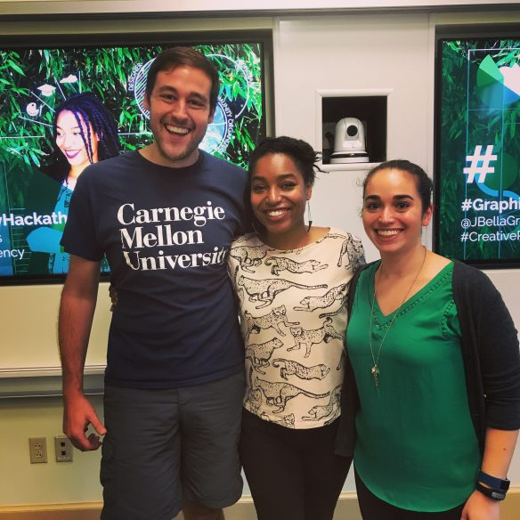 Chris Worley, Jessica Bellamy, and Ali Siegel after the Infographic Workshop